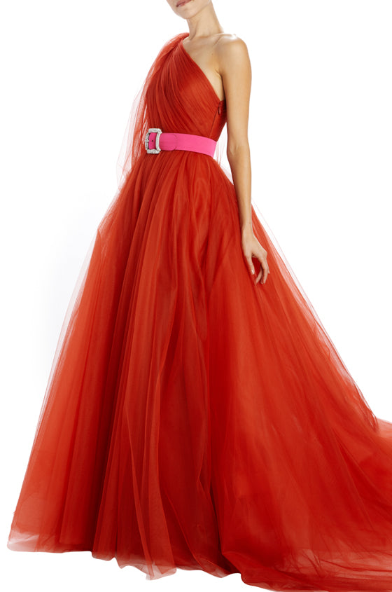 Burnt Sienna French Tulle one shoulder gown