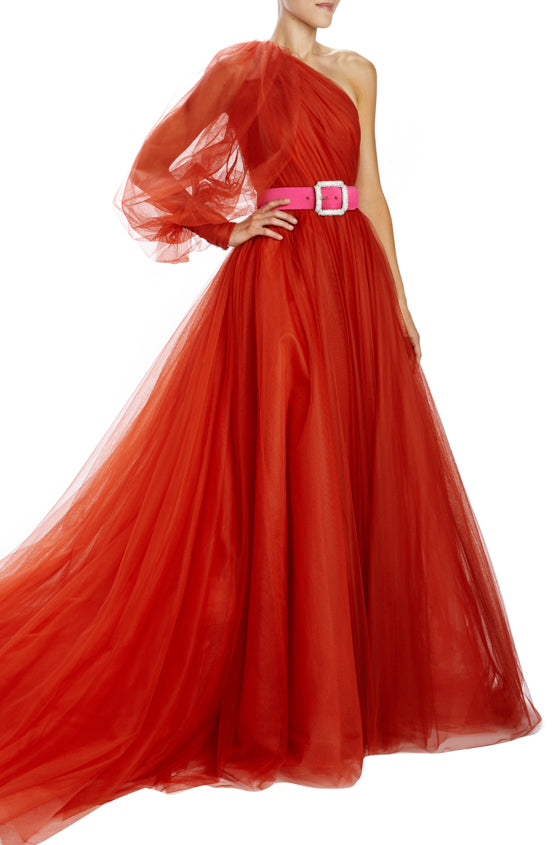 One shoulder bishop sleeve ball gown with gathered bodice