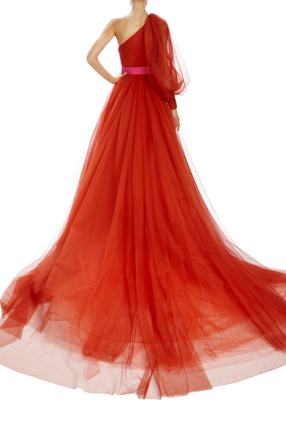 Monique Lhuillier one shoulder ball gown red