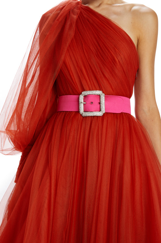Fuchsia duchess satin belt