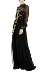Black gold embroidered evening gown