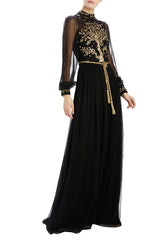 Antique gold embroidered chiffon high neck gown