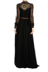 Monique lhuillier noir evening gown with bishop sleeves