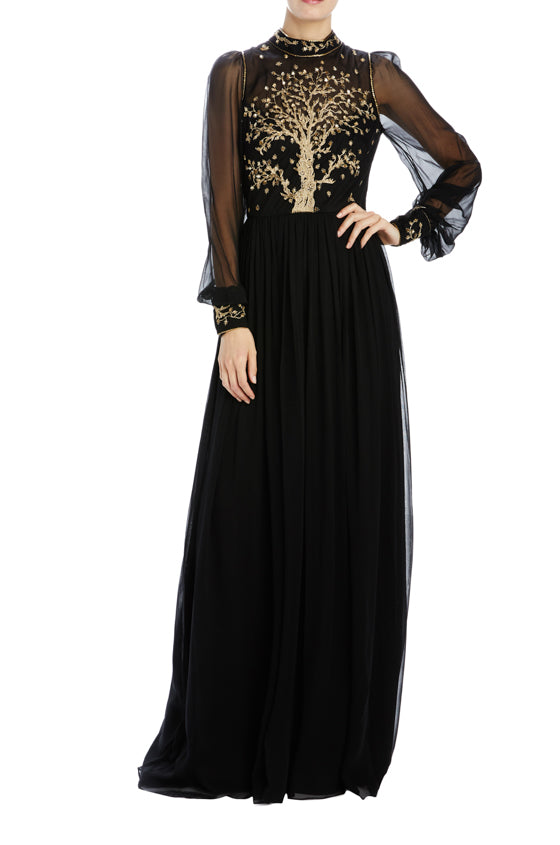 noir high neck gown with bishop sleeves