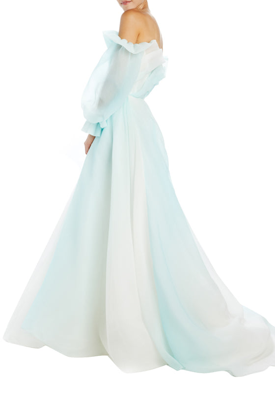 Draped bodice off the shoulder ball gown mint