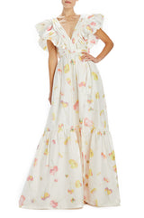 Monique Lhuillier V-neck gown with floating florals