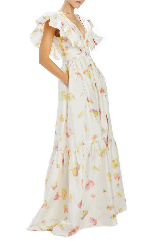 Floating Floral Taffeta Chine V-neck Gown with wide ruffle hem