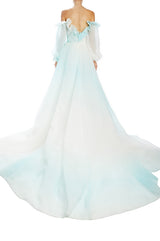 Ombre Mint Draped Bodice Off the shoulder ball gown