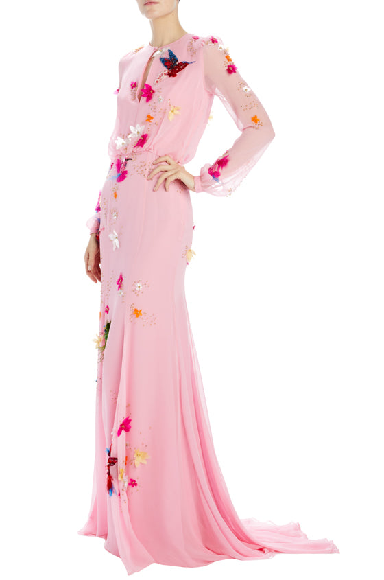 pink embroidered chiffon long sleeve evening gown