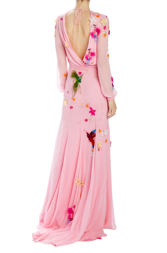 Pink long sleeve with gown with low back and beading