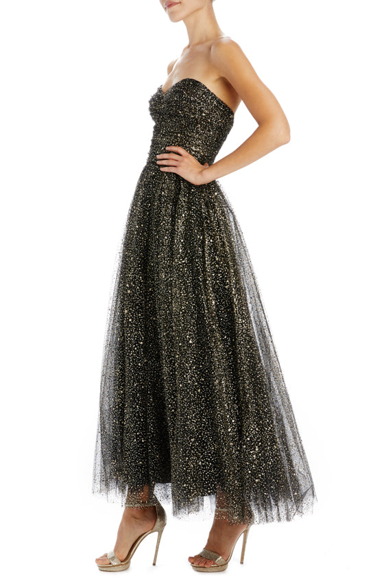 Black and gold tulle strapless dress