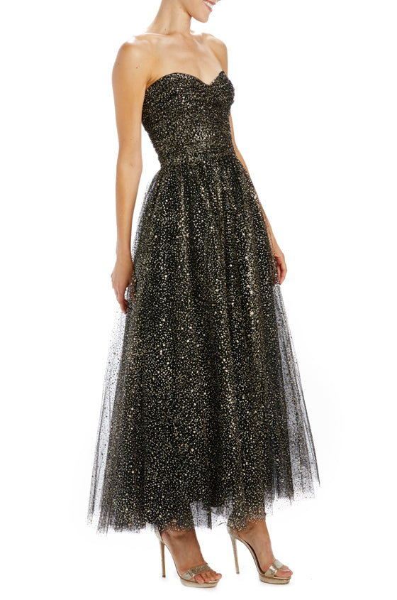 Monique Lhuillier tulle strapless tea length dress glitter