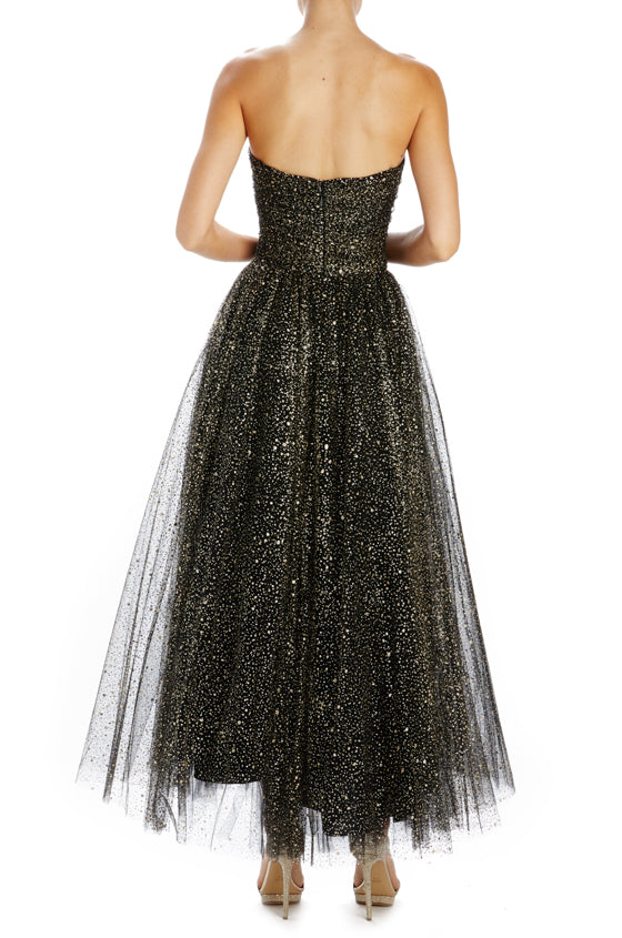 black and gold tulle dress with glitter speckled tulle
