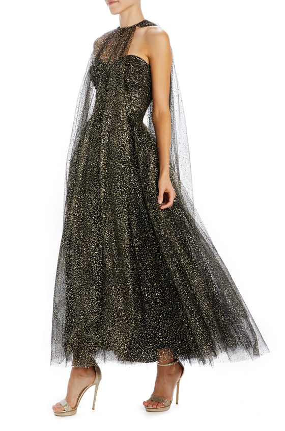 Monique Lhuillier glitter speckled tulle tea length cape