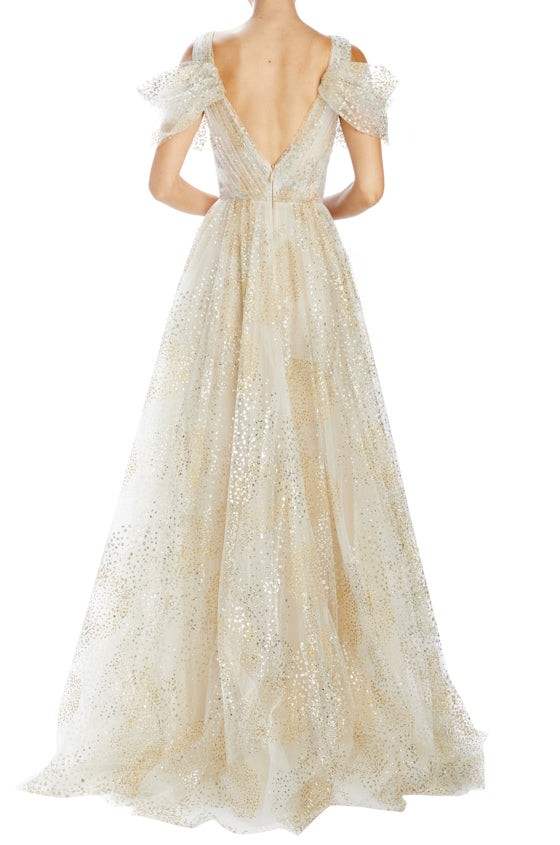 V-neck tulle evening gown silver and gold tulle