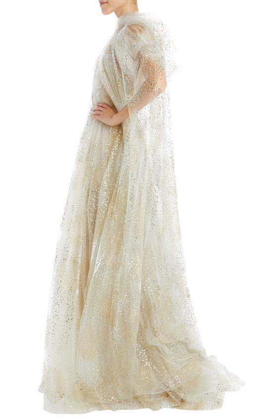 glitter fireworks tulle full length cape