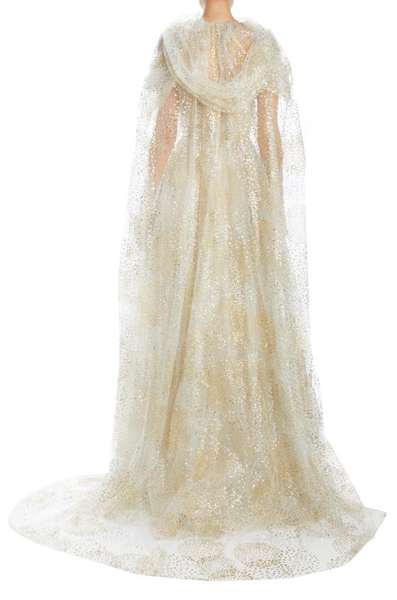 Monique Lhuillier glitter tulle cape with armholes