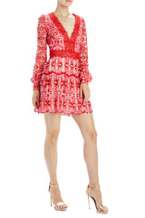 Monique Lhuillier red and pink lace mini dress