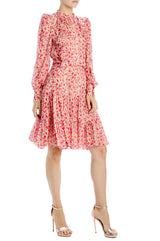 Monique lhuillier long sleeve printed floral dress
