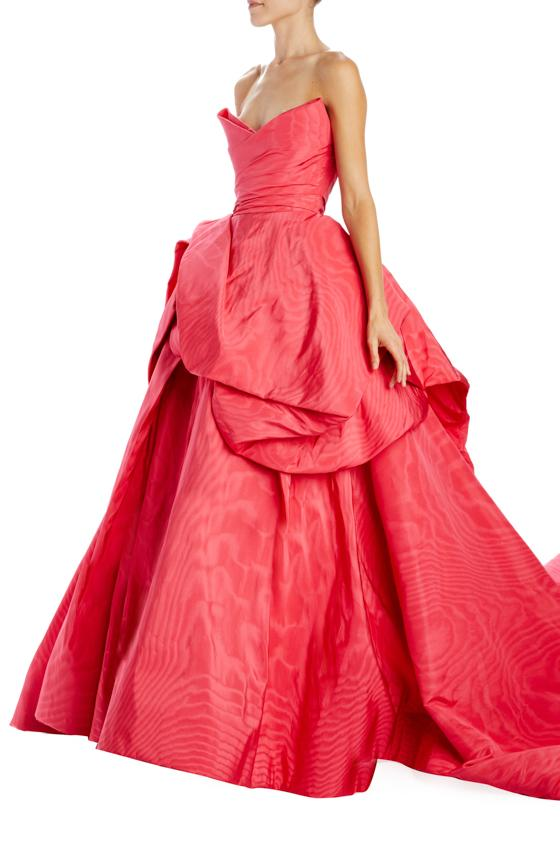 strawberry moire faille strapless ball gown with train