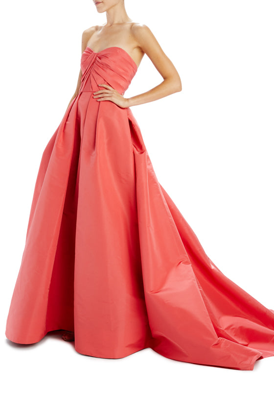 Poppy silk faille strapless gown with pockets