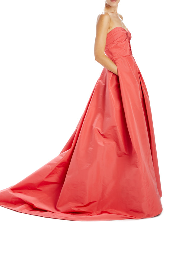 Monique Lhuillier Strapless Evening Gown Poppy