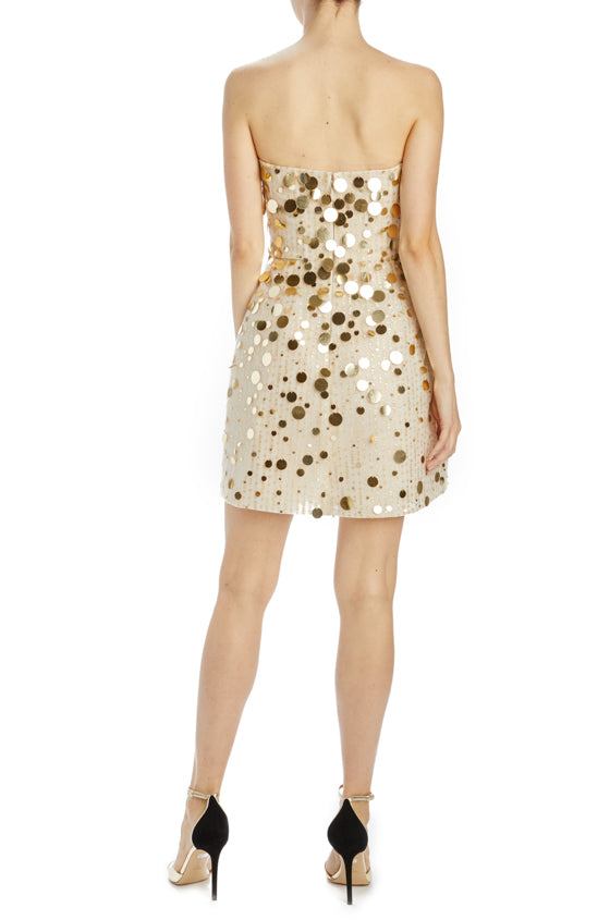 Monique Lhuillier gold strapless cocktail dress
