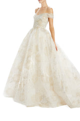 Glitter fireworks tulle off the shoulder ball gown