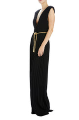 V-neck jumpsuit with pleated pant