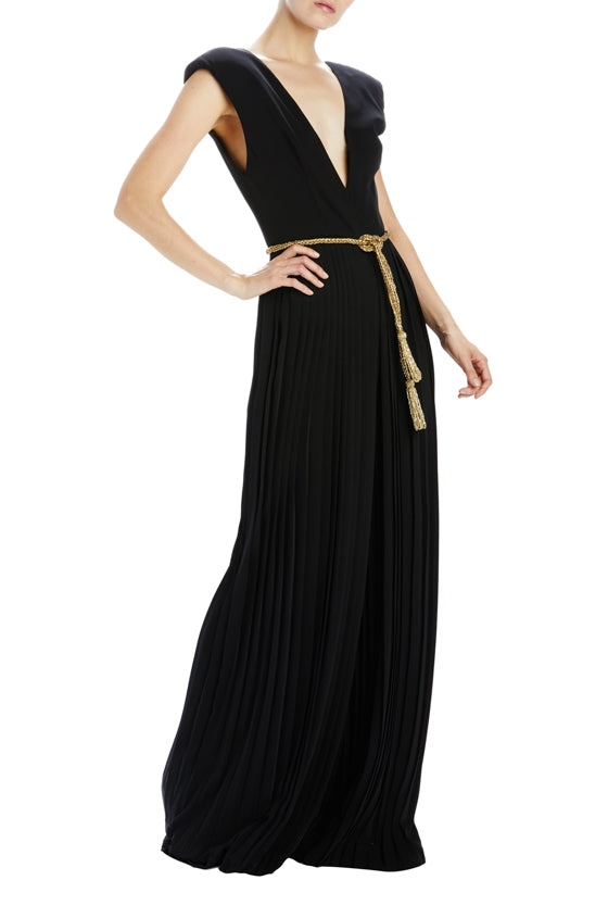 v-neck pleated jumpsuit noir