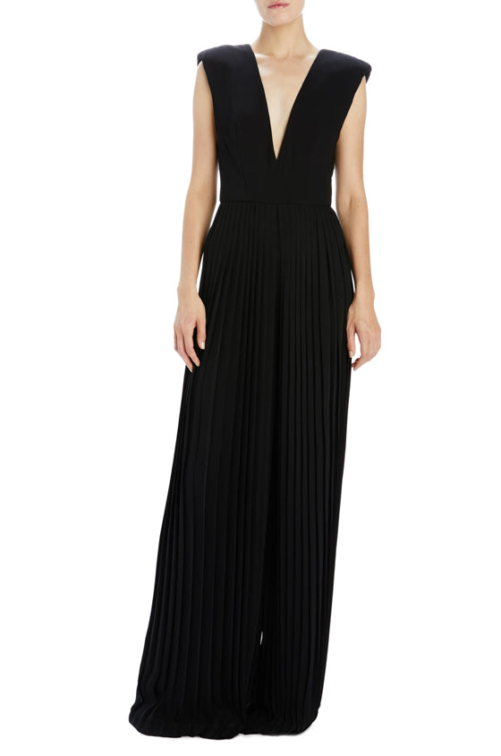 Monique Lhuillier Noir pleated jumpsuit