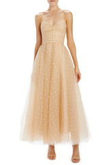Strapless tea length dress with fitted bodice pale pink
