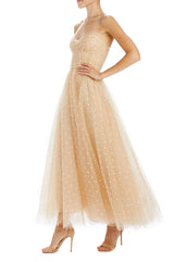 Polka dot tulle strapless tea length dress with ruched bodice