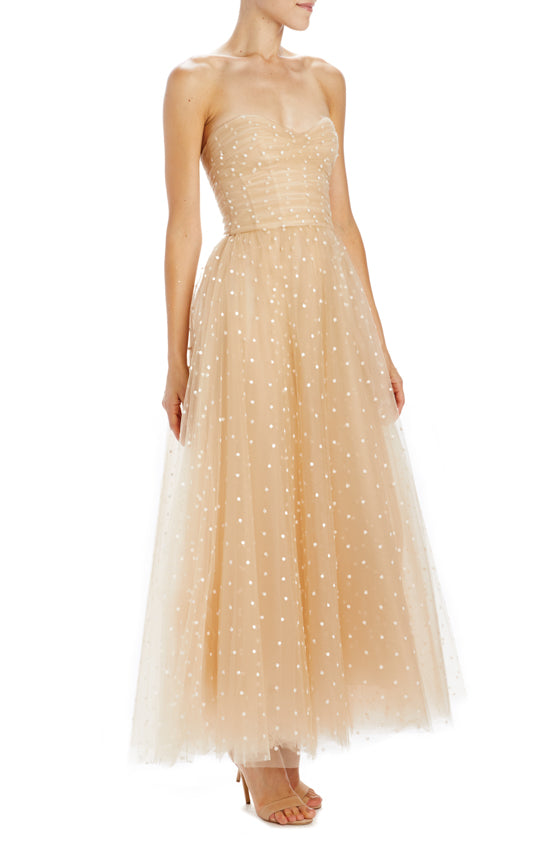 Monique Lhuillier strapless nude dress with polka dots