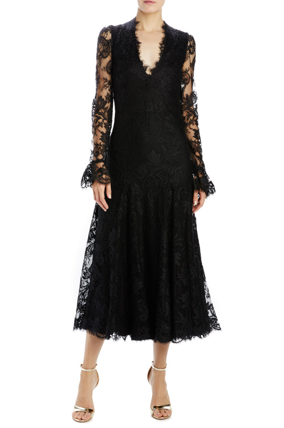 Long sleeve lace godet dress