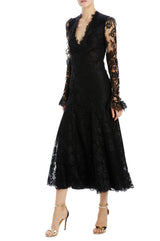 Paisley floral lace long sleeve godet dress