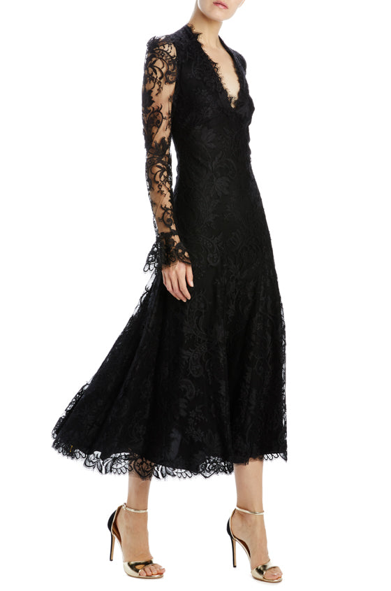 noir lace v-neck long sleeve dress