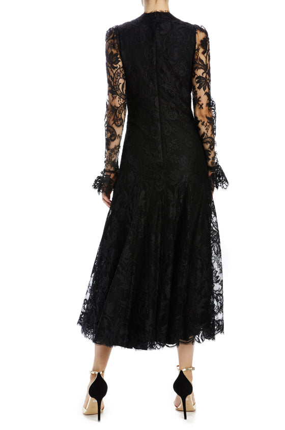 Monique Lhuillier black lace v-neck dress