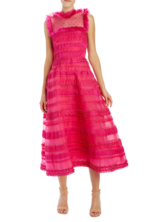 Monique Lhuillier Fuchsia Midi Dress with ruffle detail