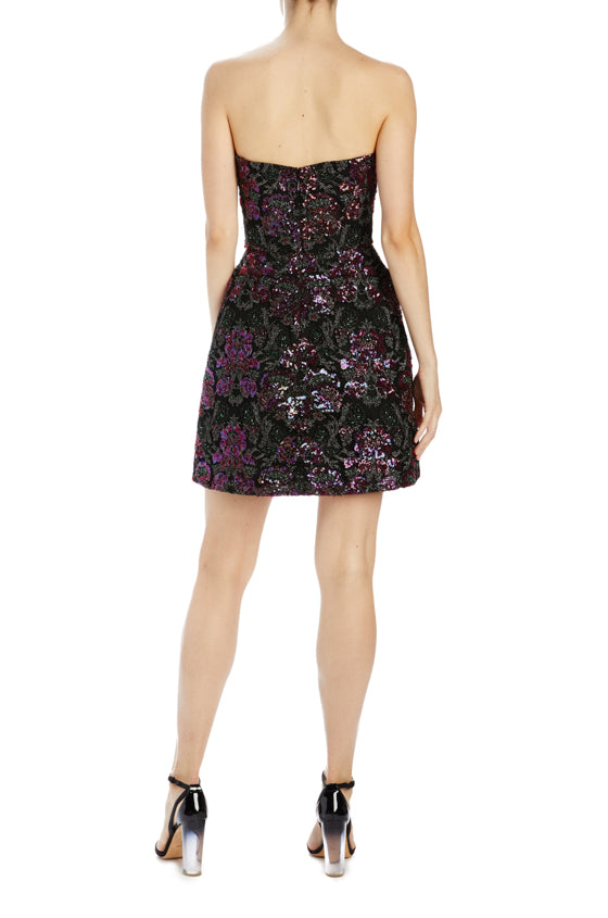 strapless floral sequin dress mini