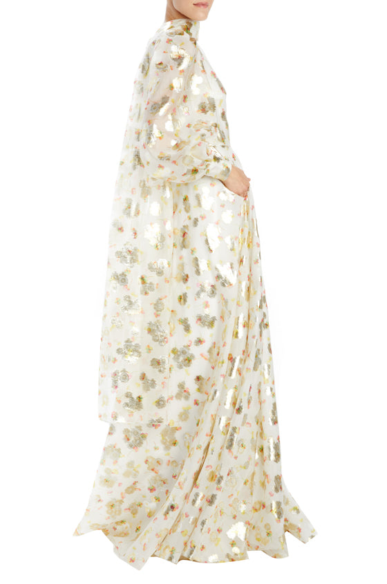 Monique Lhuillier long sleeve floral gown