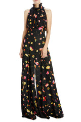 Black floral high waisted pant with wide leg