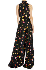 Floating floral printed high waisted pant wide leg