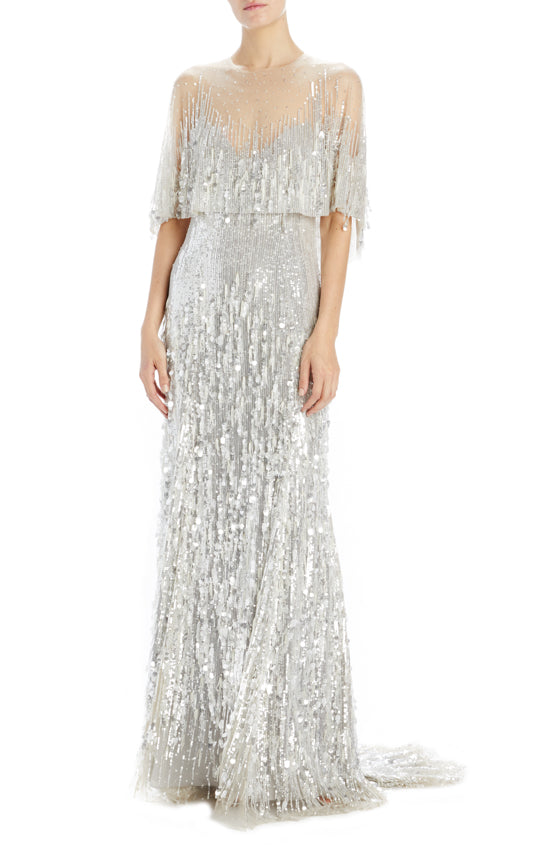 Jewel neck capelet sleeve gown silver