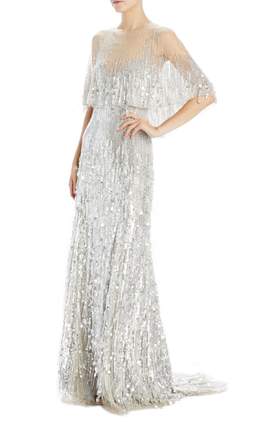 Monique Lhuillier silver beaded evening gown