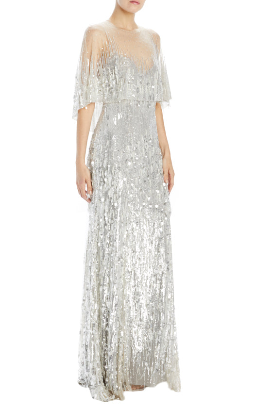 Monique Lhuillier embroidered tulle chrome gown