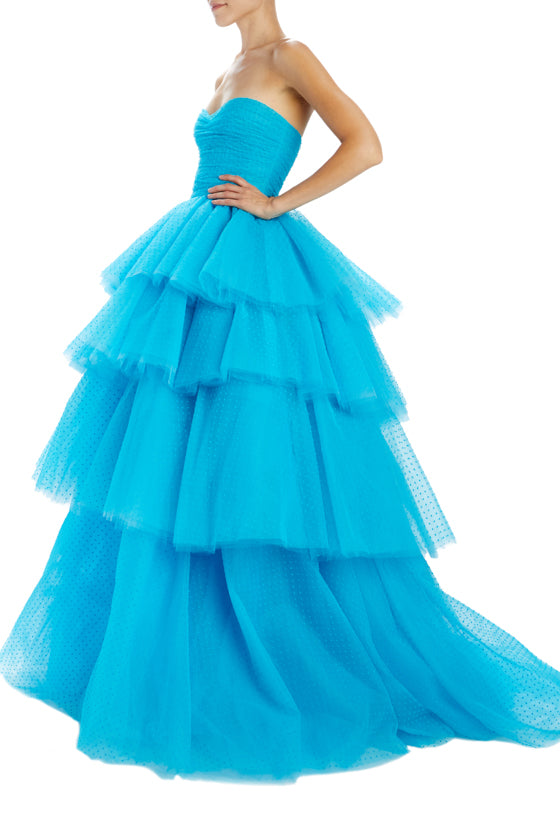 Monique Lhuillier Aquamarine tulle ball gown