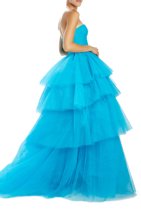 strapless ball gown with tiers Spring 2020
