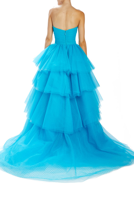 Flocked dot tulle strapless gown with ruched bodice