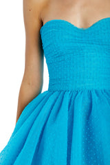 aquamarine flocked dot tulle